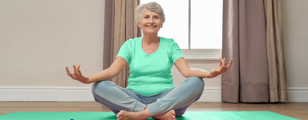 ioga na progressão do anti-envelhecimento